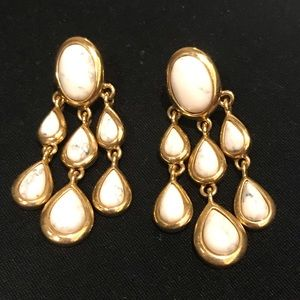 Gold and white pearl chandelier earrings
